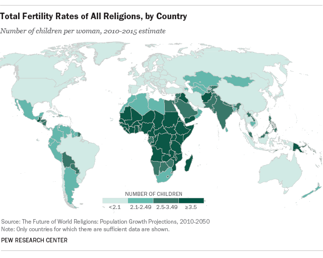 Total Fertility Rates Of All Religions By Country Pew