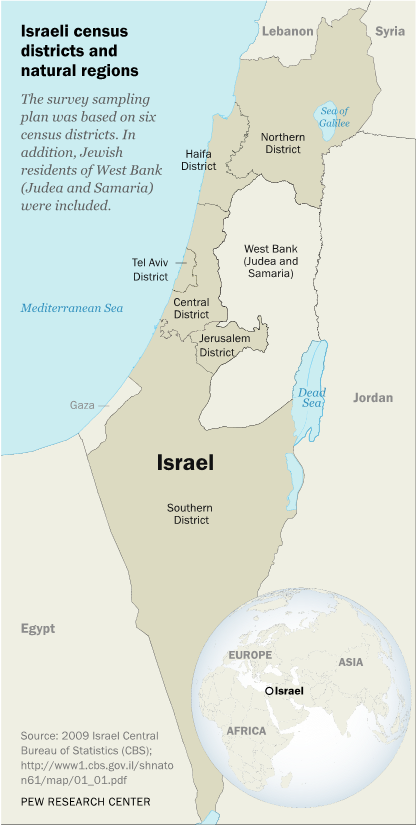 Israeli census districts and natural regions