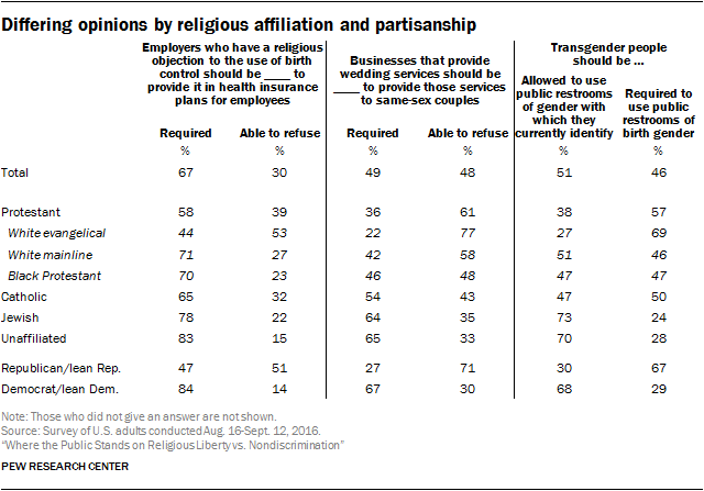 Differing opinions by religious affiliation and partisanship