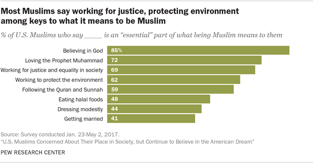 Most Muslims say working for justice, protecting the environment among keys to what it means to be Muslim