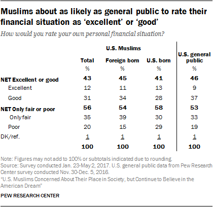 Muslims about as likely as general public to rate their financial situation as 'excellent' or 'good'