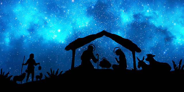 representation of christmas nativity scene holy family figurines under a hut in the desert