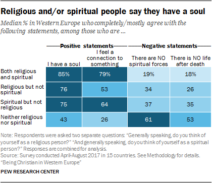 Religious and/or spiritual people say they have a soul