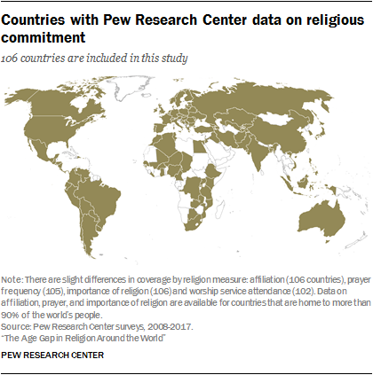 Countries with Pew Research Center data on religious commitment