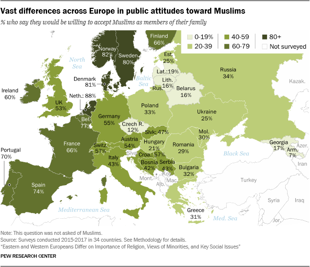 Vast differences across Europe in public attitudes toward Muslims