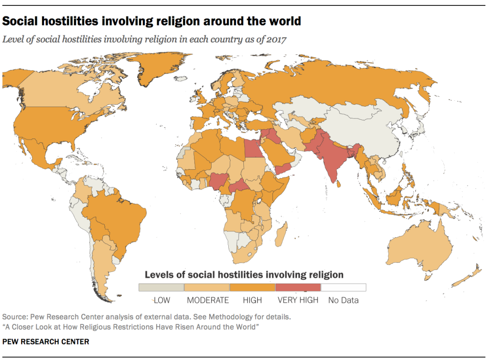 Social hostilities involving religion around the world