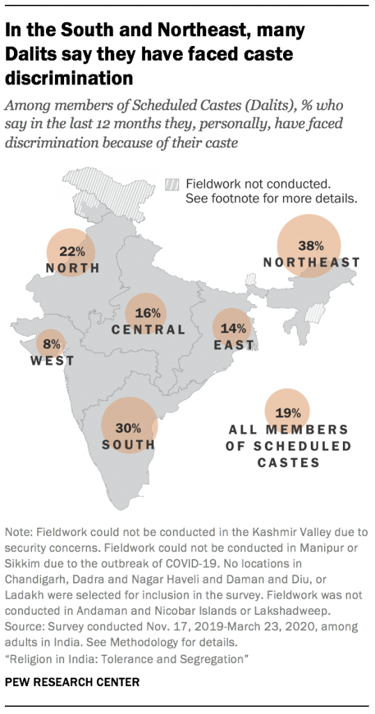 In the South and Northeast, many Dalits say they have faced caste discrimination