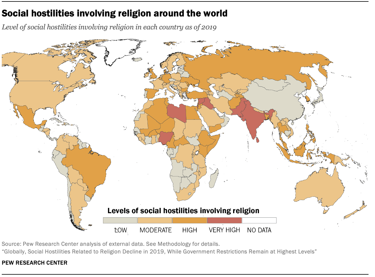 Social hostilities involving religion around the world